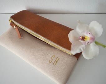 Personalized Bridesmaid Gift, Wedding Purse, Foldover Clutch with Initials Printed