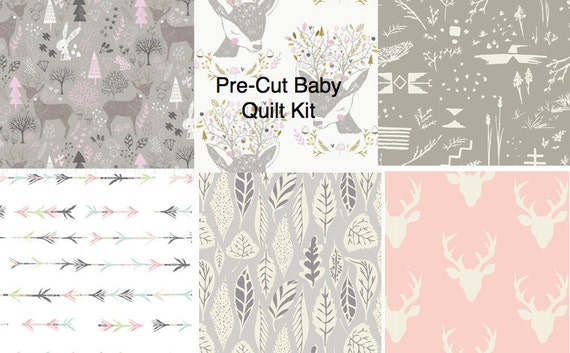 Woodland Baby Girl Quilt Kit Nursery Quilting Cotton Pre Cut