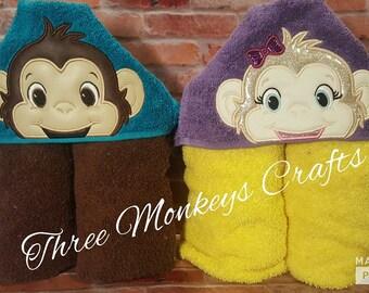 Monkey gift etsy monkey hooded towel personalized hooded bath towel personalized beach towel baby gift negle Images