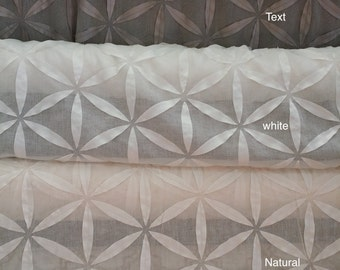 "STARBURST, by softline,Sheer with laser cut applique, 59"" wide, sold by the yard"