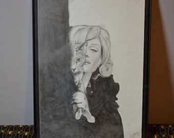 Marilyn Monroe and Cat Original Artwork