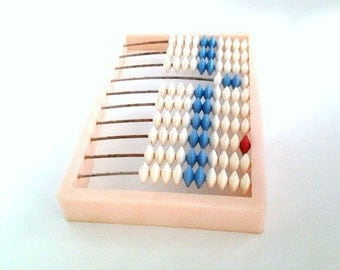 Vintage Soviet Small Abacus, Plastic Abacus, Back to School, Kids Toy Abacus, Soviet Calculator, USSR Collectible / Made in USSR, 1980s