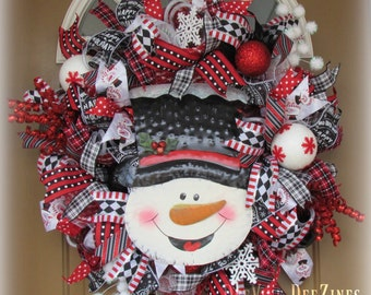 Christmas Deco Mesh Wreath, Snowman Deco Mesh Wreath, Deco Mesh Wreath
