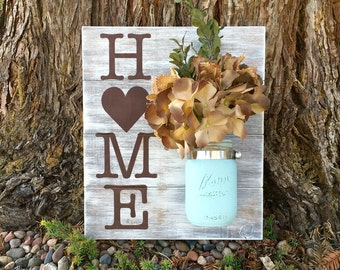 Mason Jar Wood Wall Hanging,Country Wall Decor,Rustic Home Decor,Home Sign,Home Decor, Distressed,Hand Painted,Wall Decor,Vase Decor