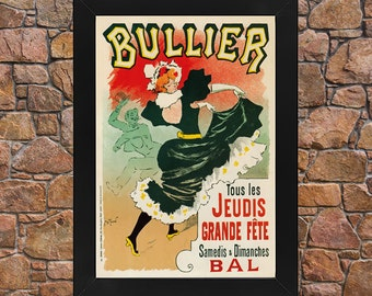 AP64 Framed Vintage France 1894 Bullier Grande Fete Jules Cheret French Advertisement Poster Re-Print Wall Art Deco A3/A4