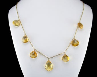 Briolette Cut Citrine Dangle Necklace