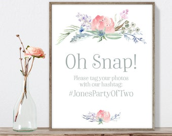 Boho Hashtag Sign / Instagram Sign / Blush Flowers, Boho Flowers, Bohemian Greenery, Wildflowers ▷ Printable File {or} Printed & Shipped