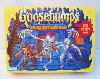 Goosebumps Shrieks and Spiders Game-1995 Parker Brothers-Plastic Spider Figures-Playing Cards-Round Pog Shaped Chips-Scoreboards-R L Stine