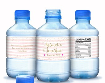 Wedding Water Bottle Labels, Personalized Water Bottle Labels, Waterproof Label, Bridal Shower Labels, Welcome Bags, Pink Stripes Labels