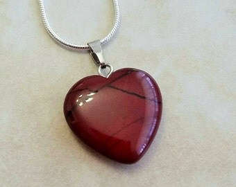 Brave Heart Red Jasper Stone Pendant Charm Silver Plated Necklace 16 Inches