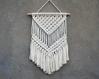 Macrame wall hanging Medium size wall decor Woven wall hanging Weaving fiber art Retro interior decor Handmade home decor Eco-friendly gift