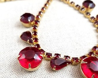 Vintage Ruby Red Rhinestone Choker Gold Tone Prong Setting