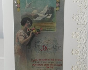 Vintage  Style Victorian Romantic card - To my Dear One