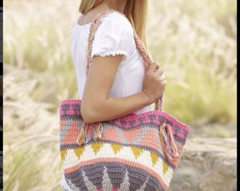 Women crochet summer / beach / market bag / tote, multicolor in 100% cotton