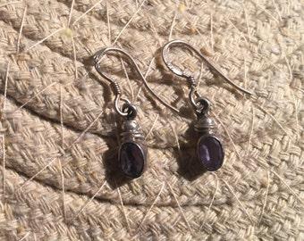 Vintage Amethyst Earrings...Sterling Silver Earrings…Handmade…Ethnic…Hippie…Gypsy…Birthstone…February…Gift…Vintage Shop