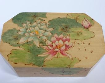 Box, Wood Box, Lacquer Box, Trinket Box, Jewelry Box, Lotus Flower Box, Wooden Box, Chinese Lacquered Box, Chinese Wooden Box, Floral Box