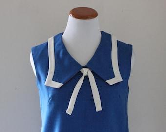Vintage 1950s 50s Dress Blue White Nautical Sailor Collar Bombshell Pinup / Size Medium M