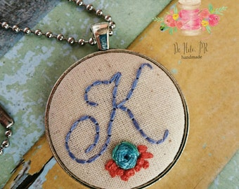 Embroidered initial necklace. Hand embroidered necklace. Embroidered monogram necklace. Monogram necklace. Embroidered monogram.Gift for her