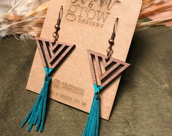 Wooden Earrings - Triangle Fringe
