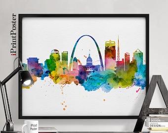 saint louis poster saint louis saint louis print missouri city prints wall art watercolour skyline poster home decor iprintposter - Home Decor St Louis Mo