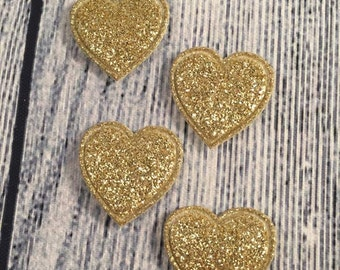 Gold Hearts, Padded Gold Hearts, Sparkly Heart, Set of 4 Gold Hearts