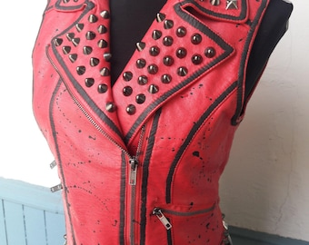 Studded red pleather vest