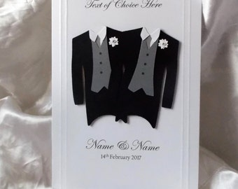 personalised handmade civil partnership card gay wedding card