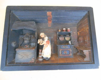 Vintage Shadow Box East Germany Hand Made Picture 3D
