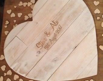 Rustic Wedding Wooden Heart Guest Book
