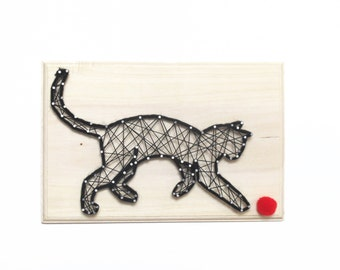 Moka, the playing cat - Cat sign -  Cat decor - DIY kit - Cat String art kit - All included - creative kit