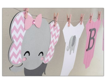 Baby Elephant Banner with Onesies Pink and Grey Baby Shower Decoration