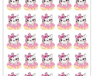 Cat on Donut Planner Stickers