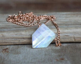 Rainbow Moonstone Necklace, Geometric Stone Necklace, June Birthstone, Rose Gold Necklace, Flashy Moonstone Jewellery, Pentagon Pendant