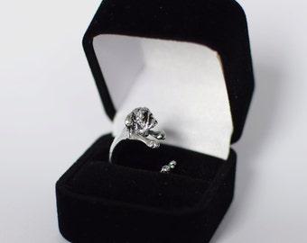 Pug Dog Silver / Black Adjustable Fashion Ring + FREE Ring Gift Box