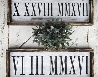 Roman Numerals// anniversary // wedding // wedding gift // wedding shower // rustic decor // bedroom decor // Roman numeral// birthday/ gift