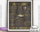 """50th Anniversary Gift 1967 Poster, 50 Years USA Flashback Instant Download 8x10/16x20"""" Married in 1967 50th Chalkboard Style Printable"""
