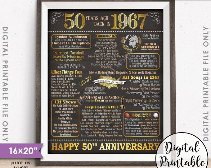 "50th Anniversary Gift 1967 Poster, 50 Years USA Flashback Instant Download 8x10/16x20"" Married in 1967 50th Chalkboard Style Printable"
