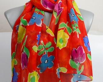 Vintage Silk Scarf, Floral Chiffon Silk, Long Scarf,  Sheer Silk Scarf