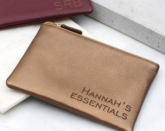 Personalised Luxury Leather Mini Clutch Bag