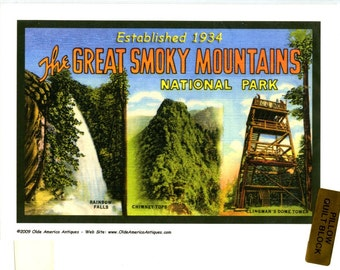 75th Anniversary Great Smoky Mountains National Park 7 Giclee Prints Quilt Blocks Cotton Sateen Olde American Antiques OOP 2009