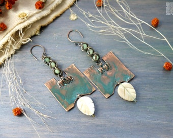 Earrings copper, metalwork, natural jewelry, Artisan Jewelry, Copper Earrings Blue Crystals, Wire Earrings, Wire Wrapped Earrings, Metal