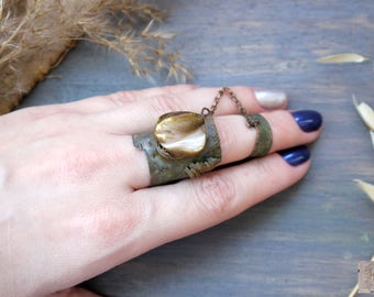 SALE! Ring large copper huge Statement fold formed metalsmith Artisan rustic adjustable ring Bohemian Jewelry rystic Eco Designer Jewelry