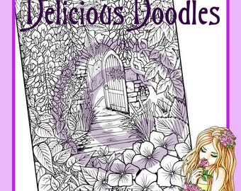 Garden Door Fairy Colouring Page, Coloring Page, Digital Stamp