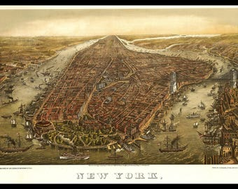 "Panoramic Map of New York 1873. These prints were done in the 1800's and can be printed in various sizes. Can be printed up to 12"" X 18"""