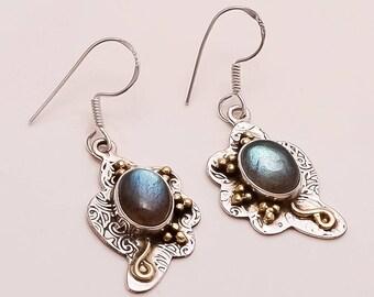 925 Solid Sterling Silver Copper LABRADORITE Earring