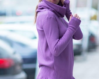 Extra Long Sleeve Purple Top, Plus Size Cotton Tops, Polo Neck Oversize Cardigan Sweater, Turtleneck Blouse - TP0440CK