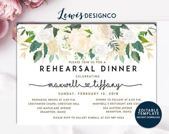 Watercolor Floral Rehearsal Dinner Invitation, Party Invite, Wedding Card, Wedding Dinner, Instant Download Editable Printable pdf jpeg