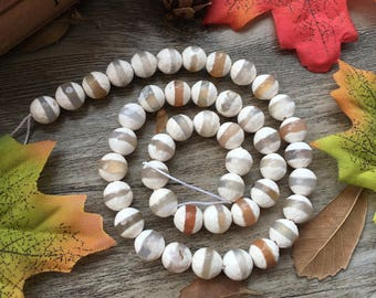 "Natural 8mm Faceted Stripe Agate White Football Agate Gemstone 15"" Loose Beads DIY Suppliers for Jewelry Spacer Charms  1 Strand"