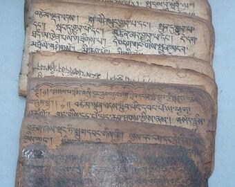 Antique Handwritten Tibetan Buddhist Manuscript Book, Religious Ritual Ceremonial Text Tibet, Religious Art Buddhism, FREE SHIPPING