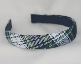 School Uniform Plaid Headband - White Plaid